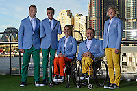 RM Williams Opening Ceremony outfit (L-R) Jayden Sawyer, Ahmed Kelly, Emma Booth, Kurt Fernley and  Kate Doughty, <br /> 2016 APC RIO Uniform Launch with the city of Sydney as the backdrop shot from the Star Casino<br /> Australian Paralympic Committee<br /> Star Casino / Sydney / NSW<br /> Monday 6 June 2016<br /> © Sport the library / Jeff Crow