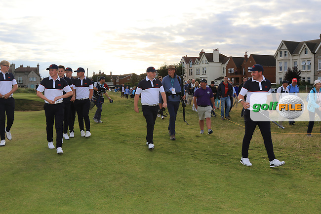 GB&I team members supporting Thomas Sloman (GB&I) on the 17th green during Day 2 Singles at the Walker Cup, Royal Liverpool Golf CLub, Hoylake, Cheshire, England. 08/09/2019.<br /> Picture Thos Caffrey / Golffile.ie<br /> <br /> All photo usage must carry mandatory copyright credit (© Golffile | Thos Caffrey)