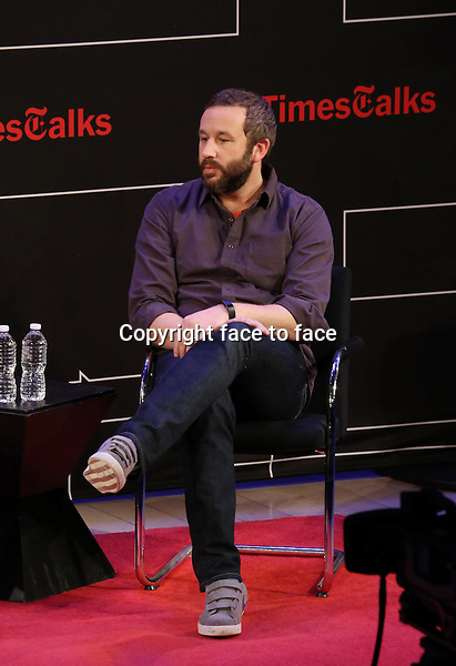 Chris O'Dowd onstage at TimesTalks Presents 'An Evening With James Franco And Chris O'Dowd' at the Times Center on March 7, 2014 in New York City.<br />