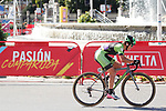 Malgorzata Jasinska (POL) Cylance Pro Cycling races off the front during the Madrid Challenge by La Vuelta was ridden over 87km, with 15 laps on a 5.8km route around the iconic Plaza Cibeles, Madrid, Spain. 10th September 2017.<br /> Picture: Unipublic/&copy;photogomezsport | Cyclefile<br /> <br /> <br /> All photos usage must carry mandatory copyright credit (&copy; Cyclefile | Unipublic/&copy;photogomezsport)