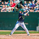 4 September 2017: Vermont Lake Monsters designated hitter Payton Squier at bat to lead off the 6th inning during the first game of a double-header against the Tri-City ValleyCats at Centennial Field in Burlington, Vermont. The Lake Monsters split their games, falling 6-5 in the first, then winning the second 7-4, thus clinching the NY Penn League Stedler Division Championship. Mandatory Credit: Ed Wolfstein Photo *** RAW (NEF) Image File Available ***