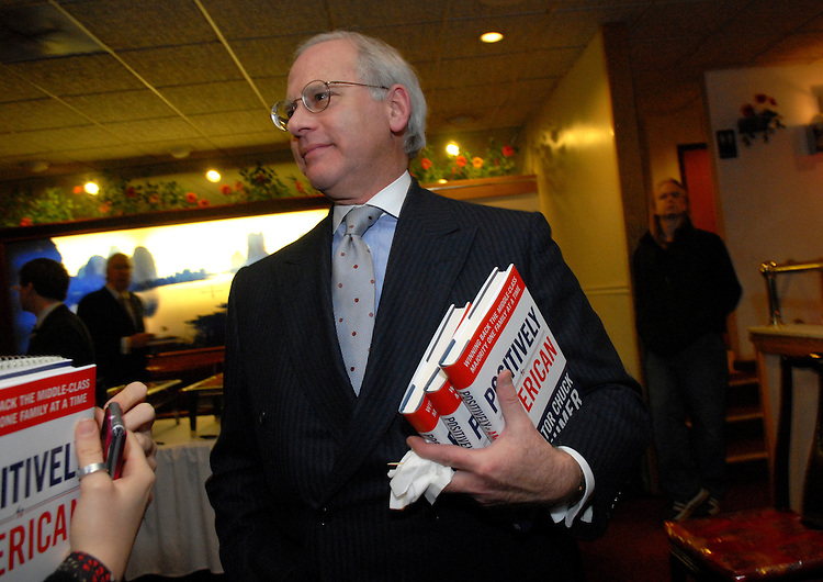 "Mark Levy, a friend of Sen. Hillary Clinton, is interviewed about Sen. Chuck Schumer's book ""Positively American"" at a book signing reception at the Hunan Dynasty on Capitol Hill, Tuesday, January 30, 2007."