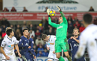 Goalkeeper Lukasz Fabianski of Swansea City  gathers as Harry Kane of Spurs looks on during the Premier League match between Swansea City and Tottenham Hotspur at the Liberty Stadium, Swansea, Wales on 2 January 2018. Photo by Mark Hawkins / PRiME Media Images.