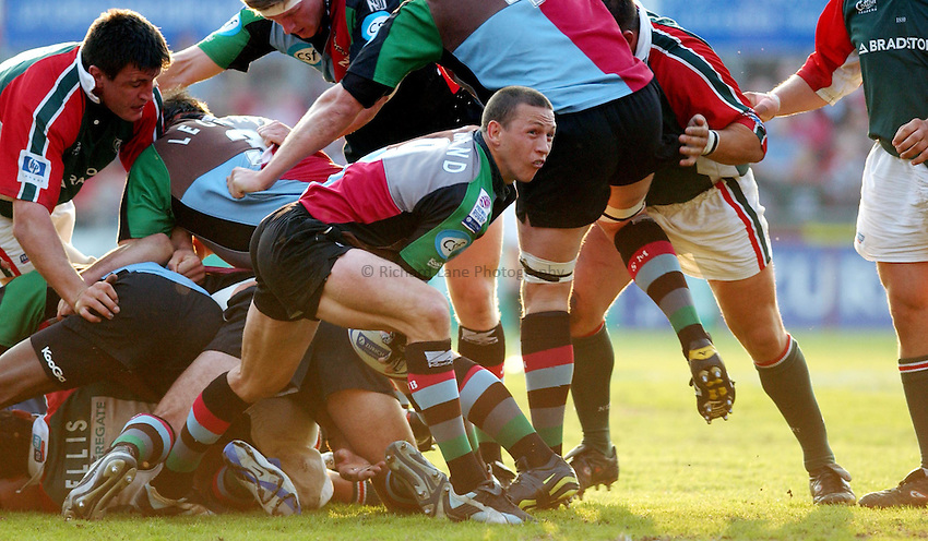 Photo. Dan Hanbury..Leicester Tigers v NEC Harlequins. Zurich Premiership. 15/05/2004..Scott Bemand gets the ball away.
