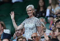 Judy Murray  in the Royal box on Centre Court <br /> <br /> Photographer Rob Newell/CameraSport<br /> <br /> Wimbledon Lawn Tennis Championships - Day 6 - Saturday 7th July 2018 -  All England Lawn Tennis and Croquet Club - Wimbledon - London - England<br /> <br /> World Copyright &not;&copy; 2017 CameraSport. All rights reserved. 43 Linden Ave. Countesthorpe. Leicester. England. LE8 5PG - Tel: +44 (0) 116 277 4147 - admin@camerasport.com - www.camerasport.com