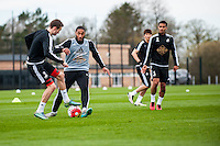Tuesday 19 April 2016<br /> Pictured: Ashley Williams of Swansea City  in action during training.<br /> Re: Swansea City Training Session ahead of the away game against Leicester City FC