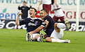 05/05/2008   Copyright Pic: James Stewart.File Name : sct_jspa03_falkirk_v_hearts.THOMAS SCOBBIE CELEBRATES WITH MICHAEL HIGDON AFTER HE SCORES FALKIRK'S FIRST.James Stewart Photo Agency 19 Carronlea Drive, Falkirk. FK2 8DN      Vat Reg No. 607 6932 25.Studio      : +44 (0)1324 611191 .Mobile      : +44 (0)7721 416997.E-mail  :  jim@jspa.co.uk.If you require further information then contact Jim Stewart on any of the numbers above........