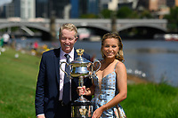 January 2, 2020: SOFIA KENIN (USA) poses for photographs with Craig Tiley CEO of Tennis Australia beside the Yarra River with her trophy as the Women's Singles champion of the Australian Open 2020 in Melbourne, Australia. Photo Sydney Low