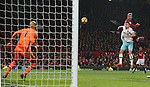 Zlatan Ibrahimovic of Manchester United goes close again with another header during the Premier League match at the Old Trafford Stadium, Manchester. Picture date: November 27th, 2016. Pic Simon Bellis/Sportimage