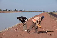 SEGOU, MALI - FEBRUARY 24: Mali workers sweep a road at a channel built by Chinese for a Libyan company that leases land from the Mali government on February 24, 2011, outside Segou, Mali. The Libyans are planning to do farming in the area. Photo by Per-Anders Pettersson
