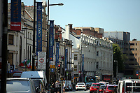 Pictured: Banners in Duke Street, Cardiff. Thursday 25 May 2017<br />Re: Preparations for the UEFA Champions League final, between Real Madrid and Juventus in Cardiff, Wales, UK.