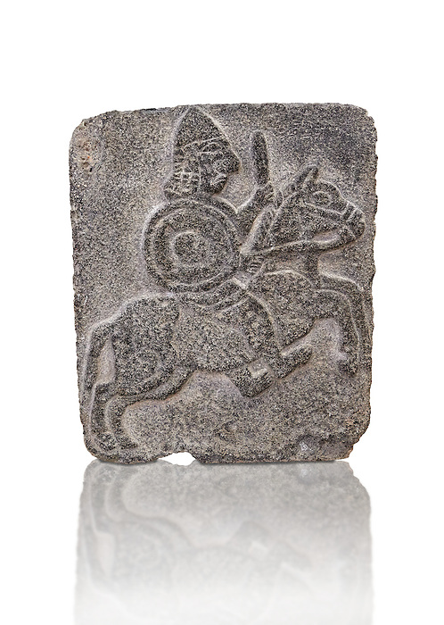 9th century BC Basalt Neo-Hittite/ Aramaean Orthostats from Palace Temple of the Aramaean city of Tell Halaf in northeastern Syria close to the Turkish border. The Orthostats are in a Neo Hittite style and depict soldiers fighting. Pergamon Museum, Berlin