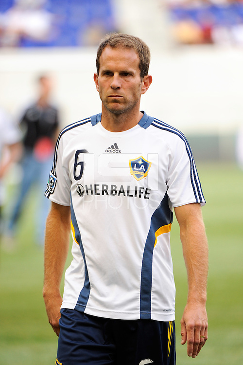 Eddie Lewis (6) of the Los Angeles Galaxy. The Los Angeles Galaxy defeated the New York Red Bulls 1-0 during a Major League Soccer (MLS) match at Red Bull Arena in Harrison, NJ, on August 14, 2010.