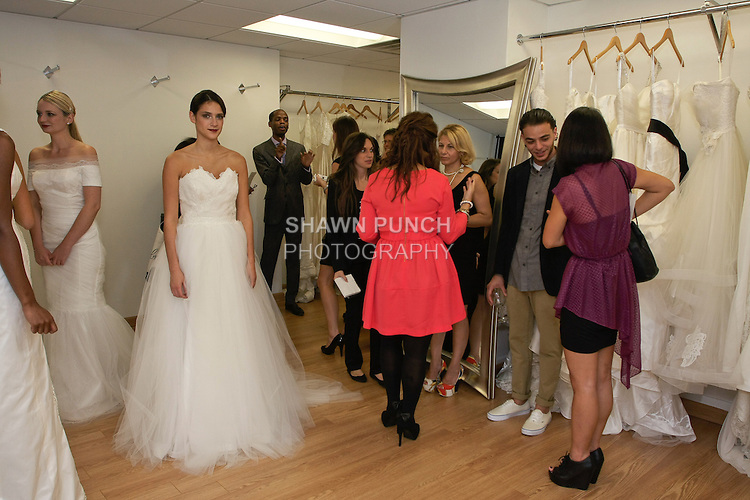 Guests and press attend the Sarah Jassir Fall 2013: From Concept To Creation collection presentation and Angelique Bridal store opening at 6 East 45 Street, during New York Bridal Fashion Week, October 15, 2012