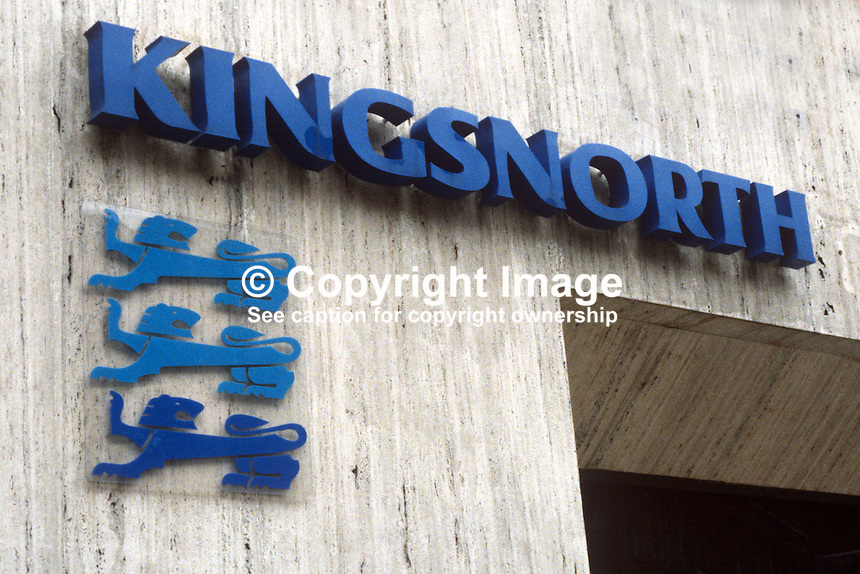 Signage, Kingsnorth, premises, Ormeau Avenue, Belfast, N Ireland - fringe bank with liquidity problems. 19840056KN1..Copyright Image from Victor Patterson, 54 Dorchester Park, Belfast, UK, BT9 6RJ..Tel: +44 28 9066 1296.Mob: +44 7802 353836.Voicemail +44 20 8816 7153.Skype: victorpattersonbelfast.Email: victorpatterson@me.com.Email: victorpatterson@ireland.com (back-up)..IMPORTANT: If you wish to use this image or any other of my images please go to www.victorpatterson.com and click on the Terms & Conditions. Then contact me by email or phone with the reference number(s) of the image(s) concerned.