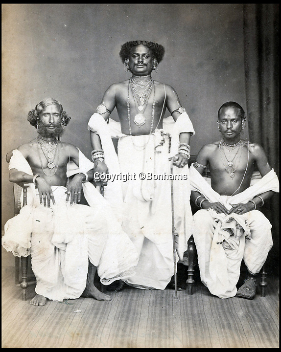 BNPS.co.uk (01202)558833Pic:  Bonhams/BNPS<br /> <br /> Prince's of Orissa, eastern India.<br /> <br /> most resplendent have come to light 150 years later.<br /> <br /> The snaps reveal the remarkably elaborate outfits worn by members of the Indian ruling class in the mid 19th century.<br /> <br /> One striking photo shows a Maharaja on horseback holding a long spear, while another is of an Indian ruler in his finery on his throne.<br /> <br /> There are also photos of Nepalese ladies of the court in spectacular dresses and high ranking British officials.