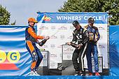 Simon Pagenaud, Team Penske Chevrolet, Scott Dixon, Chip Ganassi Racing Honda, Alexander Rossi, Andretti Autosport Honda celebrate with champagne in victory lane