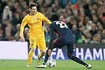 FC Barcelona's Leo Messi (l) and  Atletico de Madrid's Thomas Partey during Champions League 2015/2016 match. April 5,2016. (ALTERPHOTOS/Acero)