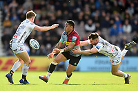 Francis Saili of Harlequins offloads the ball. Gallagher Premiership match, between Harlequins and Gloucester Rugby on March 10, 2019 at the Twickenham Stoop in London, England. Photo by: Patrick Khachfe / JMP