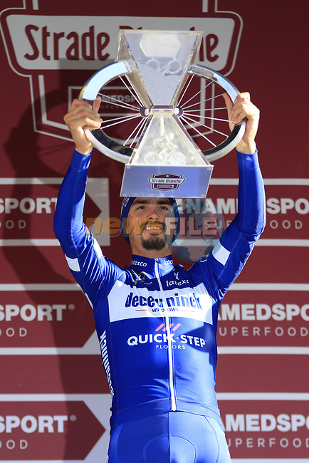 Julian Alaphilippe (FRA) Deceuninck-Quick Step wins Strade Bianche 2019 running 184km from Siena to Siena, held over the white gravel roads of Tuscany, Italy. 9th March 2019.<br /> Picture: Eoin Clarke | Cyclefile<br /> <br /> <br /> All photos usage must carry mandatory copyright credit (© Cyclefile | Eoin Clarke)