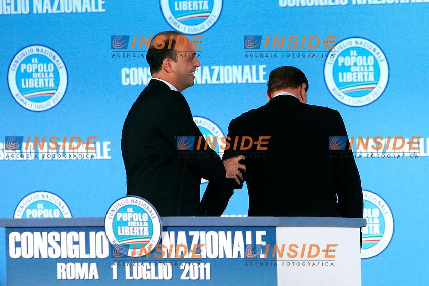 SILVIO BERLUSCONI ACCLAMA IL NEO ELETTO SEGRETARIO DEL PDL ANGELINO ALFANO..Roma 01/07/2011 Consiglio Nazionale del PDL...Photo Samantha Zucchi Insidefoto
