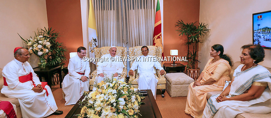 13.01.2015; Colombo, Sri Lanka: POPE FRANCIS <br /> called on the new President of Sri Lanka, Maithripala Sirisena at the Presidential Secretariat on the first day of his 3-day visit to Sri Lanka.<br /> While in Sri Lanka, Pope Francis will perform the Canonization of Blessed Joseph Vaz and visit the Madhu Shrine in the predominantly Tamil area of the country.<br /> The Pope then continues his Asian tour with a visit to the Philipines.<br /> Mandatory Photo Credit: &copy;NEWSPIX INTERNATIONAL<br /> <br /> **ALL FEES PAYABLE TO: &quot;NEWSPIX INTERNATIONAL&quot;**<br /> <br /> PHOTO CREDIT MANDATORY!!: NEWSPIX INTERNATIONAL(Failure to credit will incur a surcharge of 100% of reproduction fees)<br /> <br /> IMMEDIATE CONFIRMATION OF USAGE REQUIRED:<br /> Newspix International, 31 Chinnery Hill, Bishop's Stortford, ENGLAND CM23 3PS<br /> Tel:+441279 324672  ; Fax: +441279656877<br /> Mobile:  0777568 1153<br /> e-mail: info@newspixinternational.co.uk