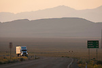 Walmart truck traveling west on the Extraterrestrial Highway toward the Pancake Range in the morning..**Trucking company logos removed in post production.