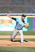 Ronnie Muck (25) of the Inland Empire 66ers pitches during a game against the Rancho Cucamonga Quakes at LoanMart Field on September 7, 2015 in Rancho Cucamonga, California. Rancho Cucamonga defeated Inland Empire, 7-6. (Larry Goren/Four Seam Images)