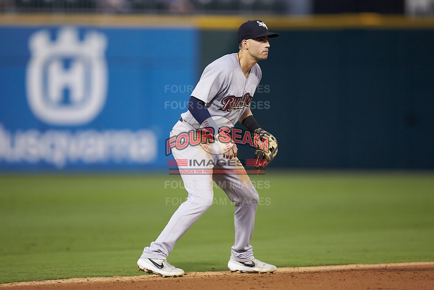 Scranton/Wilkes-Barre RailRiders shortstop Tyler Wade (9) on defense against the Charlotte Knights at BB&T BallPark on August 13, 2019 in Charlotte, North Carolina. The Knights defeated the RailRiders 15-1. (Brian Westerholt/Four Seam Images)