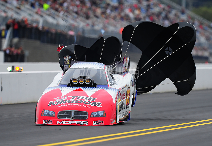 Sept. 17, 2011; Concord, NC, USA: NHRA funny car driver Johnny Gray during qualifying for the O'Reilly Auto Parts Nationals at zMax Dragway. Mandatory Credit: Mark J. Rebilas-