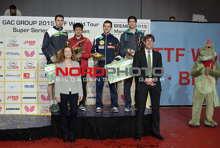 22.03.2015, &Ouml;VB Arena, Bremen, GER, GAC Group ITTF World Tour German Open, im Bild Siegerehrung Herren-Doppel: 1. Platz Timo Boll (GER) / Patrick Franziska (GER), 2. Platz  Kirill Skachkov (RUS) / Alexey Smirnov (RUS) <br /> <br /> Foto &copy; nordphoto / Frisch