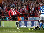 Kieron Freeman of Sheffield Utd scores the first goal during the English League One match at  Bramall Lane Stadium, Sheffield. Picture date: April 30th 2017. Pic credit should read: Simon Bellis/Sportimage