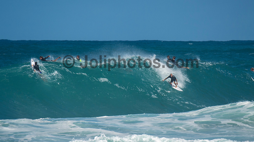 Backdoor, North Shore Oahu, Hawaii. (Saturday December 17, 2016): Kelly Slater (USA) - A  messy 12' plus NW swell was hitting the North Shore today.It was a very short interval swell from a storm just north of the island chain and consequently the surf was bumpy and bot winning up very well. The strong onshore wind was out of the South West  contributed to the marginal conditions. The Billabong Pipe Masters was on hold from 8 am with organisers hopping conditions would improve but the contest was called off for the day around noon. Photo: joliphotos