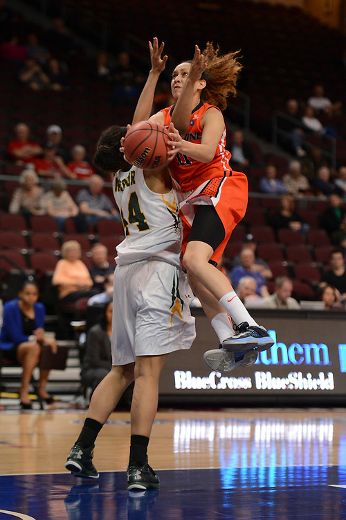 March 6, 2013; Las Vegas, NV, USA; Pepperdine Waves guard Ea Shoushtari (11, top) shoots the ball against San Francisco Dons forward Bailey Barbour (44, left) during the second half of the WCC Basketball Championships at Orleans Arena.