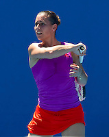 FLAVIA PENNETTA (ITA) (19) against NINA BRATCHIKOVA (RUS) in the First Round of the Women's Singles. Nina Bratchikova beat Flavia Pennetta 6-3 1-6 6-2...16/01/2012, 16th January 2012, 16.01.2012..The Australian Open, Melbourne Park, Melbourne,Victoria, Australia.@AMN IMAGES, Frey, Advantage Media Network, 30, Cleveland Street, London, W1T 4JD .Tel - +44 208 947 0100..email - mfrey@advantagemedianet.com..www.amnimages.photoshelter.com.