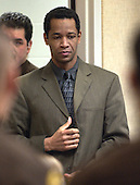 Sniper suspect John Allen Muhammad is escorted back into court for a jury question in courtroom 10 at the Virginia Beach Circuit Court in Virginia Beach, Virginia on November 14, 2003.  The jury began deliberations today. <br /> Credit: Davis Turner - Pool via CNP