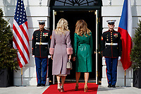 United States President Donald Trump and First Lady Melania Trump welcomes Czech Republic Prime Minister Andrej Babiš and Mrs. Monika Babišová on the South Portico at White House in Washington, District of Columbia on Thursday, March 7, 2019. Credit: Ting Shen / CNP/AdMedia