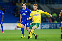Craig Bryson of Cardiff City tracks Harrison Reed of Norwich City during the Sky Bet Championship match between Cardiff City and Norwich City at the Cardiff City Stadium, Cardiff, Wales on 1 December 2017. Photo by Mark  Hawkins / PRiME Media Images.