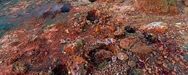 Geothermal area near the Blue Lagoon Iceland. Spectacular colors of the clay formations. Panorama images taken with Hasselblad Xpan camera and Fuji Velvia film.