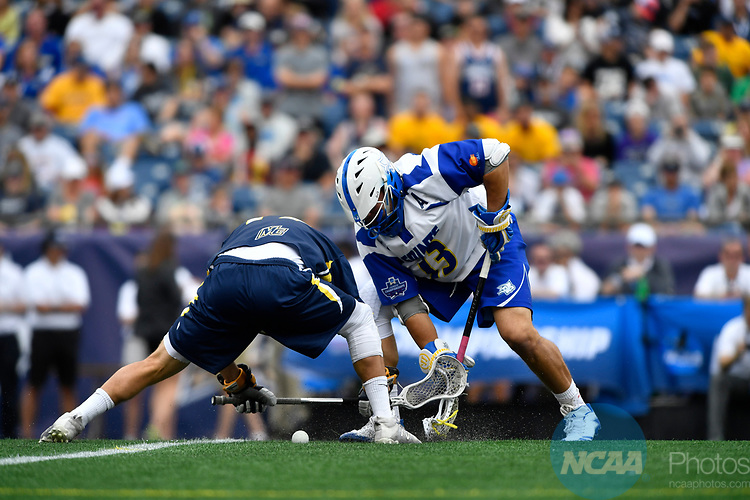 FOXBORO, MA - MAY 28: Kevin Reisman (13) of Limestone College faces off during the Division II Men's Lacrosse Championship held at Gillette Stadium on May 28, 2017 in Foxboro, Massachusetts. (Photo by Larry French/NCAA Photos via Getty Images)