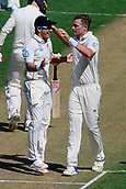 22nd March 2018, Eden Park, Auckland, New Zealand; International Test Cricket, New Zealand versus England, day 1;  Tim Southee celebrates the wicket of Mark Stoneman