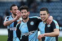 Joe Jacobson of Wycombe Wanderers puts an arm round goalscorer Luke O'Nien of Wycombe Wanderers during the Sky Bet League 2 match between Wycombe Wanderers and Bristol Rovers at Adams Park, High Wycombe, England on 27 February 2016. Photo by Andrew Rowland.