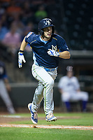 Daniel Spingola (22) of the Myrtle Beach Pelicans hustles down the first base line against the Winston-Salem Dash at BB&T Ballpark on May 11, 2017 in Winston-Salem, North Carolina.  The Pelicans defeated the Dash 9-7.  (Brian Westerholt/Four Seam Images)