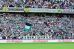 Stockholm 2014-06-08 Fotboll Superettan Hammarby IF - Landskrona BoIS  :  <br /> Hammarbys supportrar med banderoll och halsdukar<br /> (Foto: Kenta J&ouml;nsson) Nyckelord:  Superettan Tele2 Arena Hammarby HIF Bajen Landskrona BoIS supporter fans publik supporters