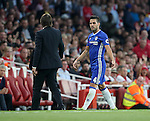 Chelsea's Cesc Fabregas gets substituted by Antonio Conte during the Premier League match at the Emirates Stadium, London. Picture date September 24th, 2016 Pic David Klein/Sportimage