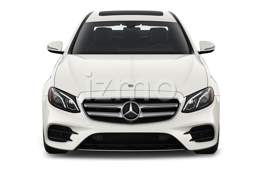 Car photography straight front view of a 2019 Mercedes Benz E-class 300 4 Door Sedan