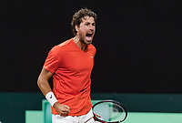 The Hague, The Netherlands, September 17, 2017,  Sportcampus , Davis Cup Netherlands - Chech Republic, Robin Haase (NED) wins the third set and screems it out<br /> Photo: Tennisimages/Henk Koster