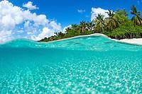 Split level view of<br /> Honeymoon Beach. St. John<br /> Virgin Islands National Park<br /> US Virgin Islands