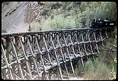 RGS #461 starting to cross Butterfly Trestle southbound.<br /> D&amp;RGW  Butterfly, CO  6/5/1951