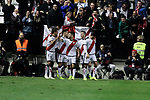 Rayo Vallecano's players celebrate goal during La Liga match between Rayo Vallecano and FC Barcelona at Vallecas Stadium in Madrid, Spain. November 03, 2018. (ALTERPHOTOS/A. Perez Meca)